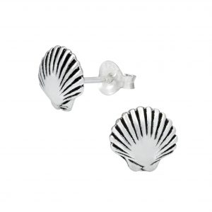 Wholesale Silver Shell Stud Earrings