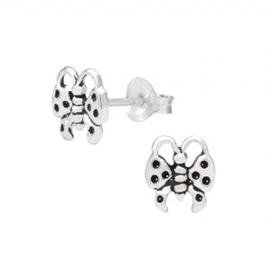 Wholesale Silver Butterfly Ear Studs