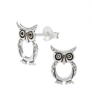 Wholesale Silver Owl Ear Studs