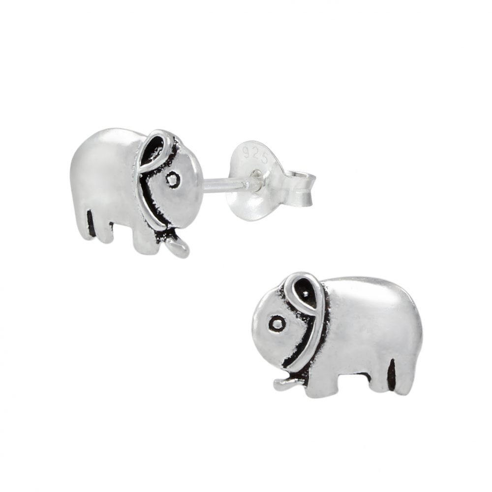 Wholesale Silver Elephant Stud Earrings