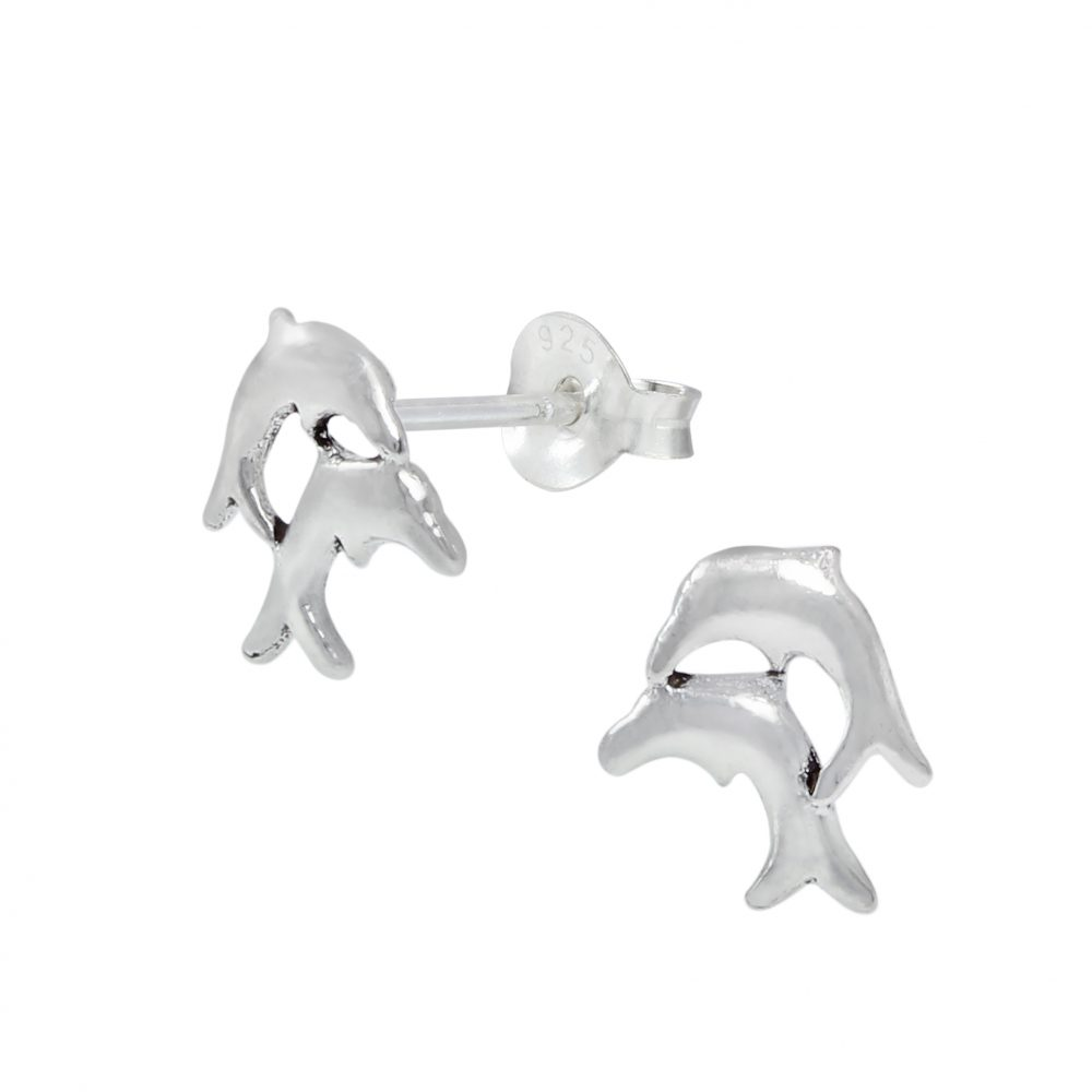 Wholesale Silver Dolphin Ear Studs