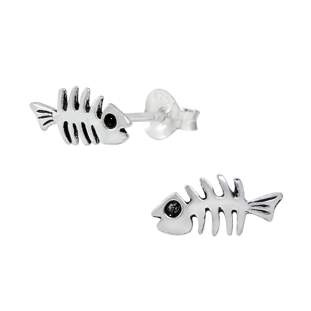 Wholesale Silver Fish Bone Ear Studs