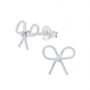 Wholesale Silver Bow Tie Stud Earrings