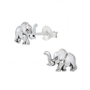 Wholesale Silver Elephant Stud Earrings