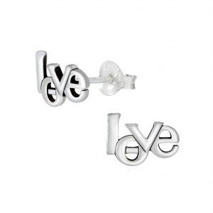 Wholesale Silver Love Ear Studs