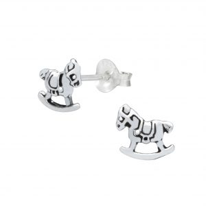 Wholesale Silver Rocking Horse Stud Earrings