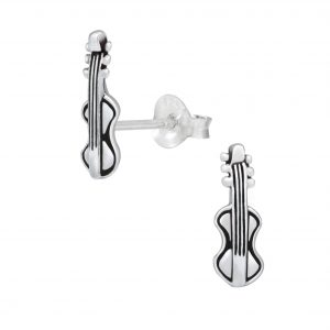 Wholesale Silver Guitar Stud Earrings