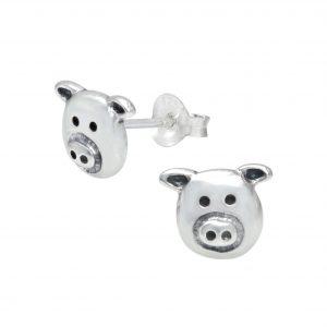 Wholesale Silver Pig Stud Earrings