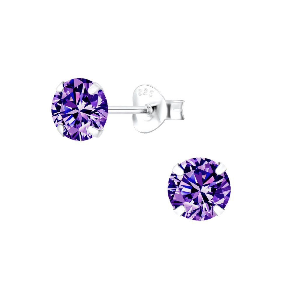 Wholesale 6mm Round Cubic Zirconia Silver Stud Earrings