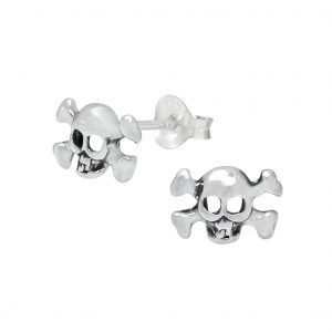 Wholesale Silver Skull and Crossbones Stud Earrings