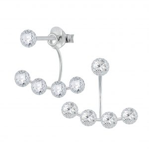 Wholesale Silver Round Cubic Zirconia Stud Earrings