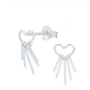 Wholesale Silver Heart with Bar Stud Earrings