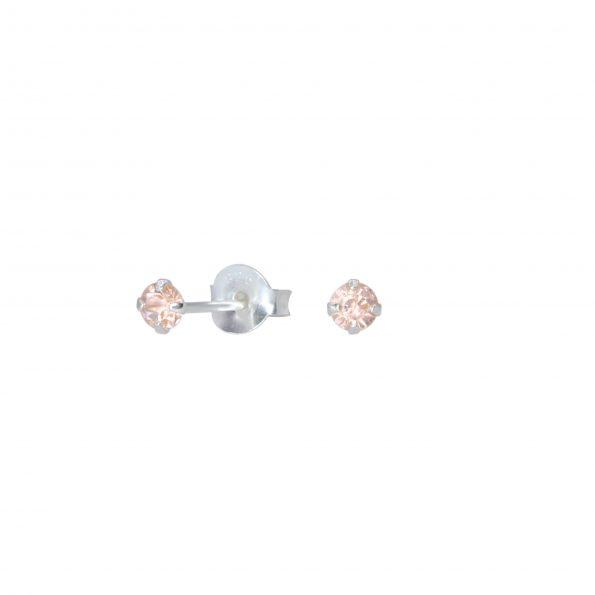 Wholesale 3mm Round Crystal Silver Stud Earrings
