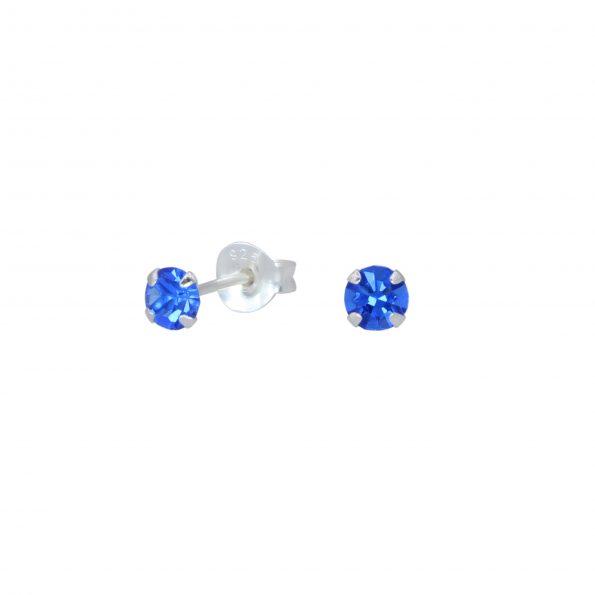 Wholesale 4mm Round Crystal Silver Stud Earrings