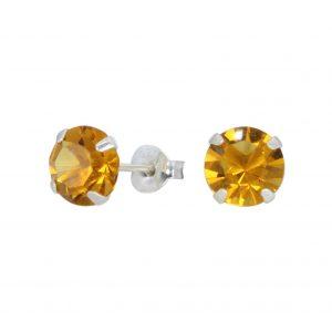 Wholesale 7mm Round Crystal Silver Stud Earrings
