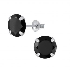 Wholesale 8mm Round Cubic Zirconia Silver Stud Earrings