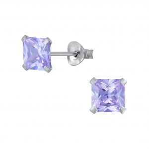 Wholesale 6mm Square Cubic Zirconia Silver Stud Earrings