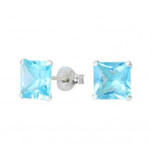 Wholesale 7mm Square Crystal Silver Stud Earrings