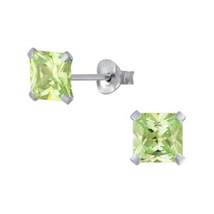 Wholesale 7mm Square Cubic Zirconia Silver Stud Earrings
