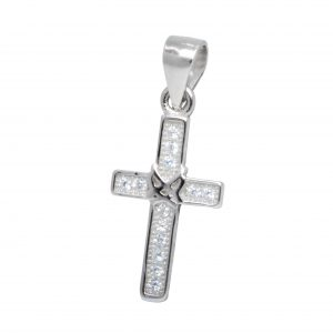 Wholesale Silver Cross Cubic Zirconia Pendant