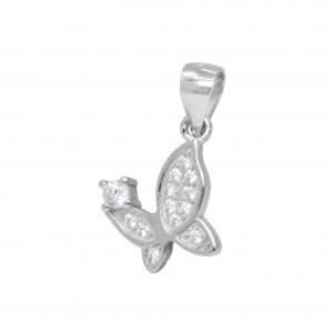 Wholesale Silver Butterfly Cubic Zirconia Pendant
