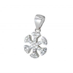 Wholesale Silver Snow Flake Cubic Zirconia Pendant