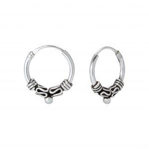 Wholesale 12mm Silver Bali Hoops