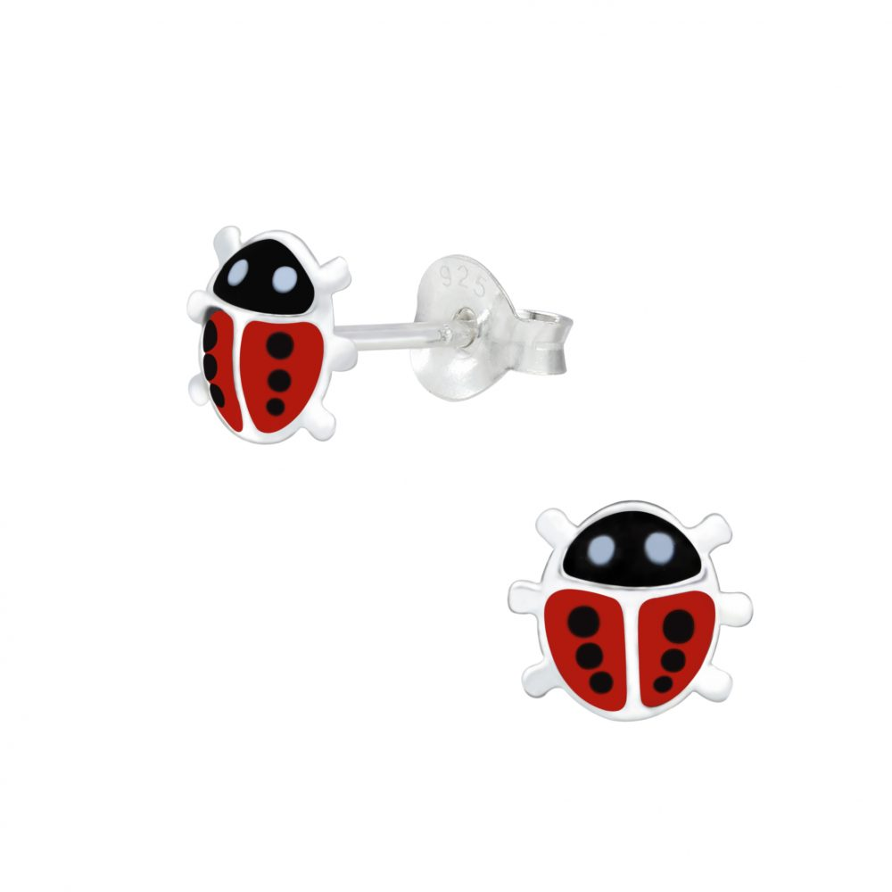 Wholesale Silver Ladybug Stud Earrings
