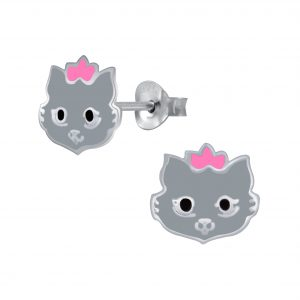 Wholesale Silver Cat Stud Earrings