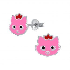 Wholesale Silver Cat Stud Earrings