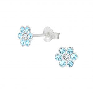 Wholesale Silver Crystal Flower Stud Earrings