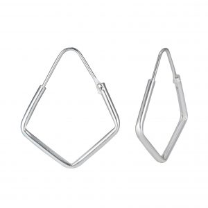 Wholesale 25mm Pentagon Silver Hoops