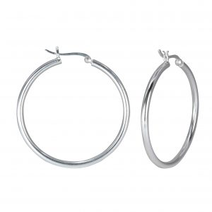 Wholesale 40mm Silver French Lock Hoops