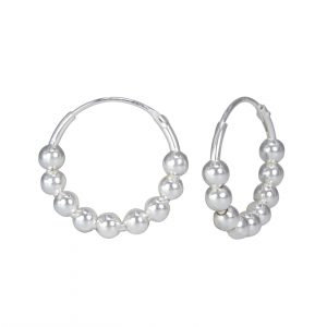 Wholesale 16mm Silver Bead Hoops