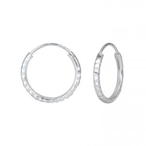 Wholesale 15mm Silver Dimond Cut Hoops