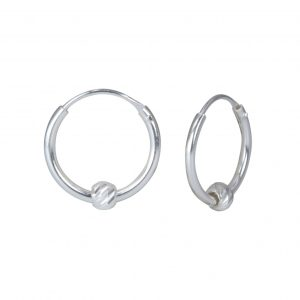 Wholesale Sliver Diamond Cut Ball Hoop Earrings