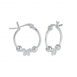 Wholesale Silver Butterfly Hoop Earrings