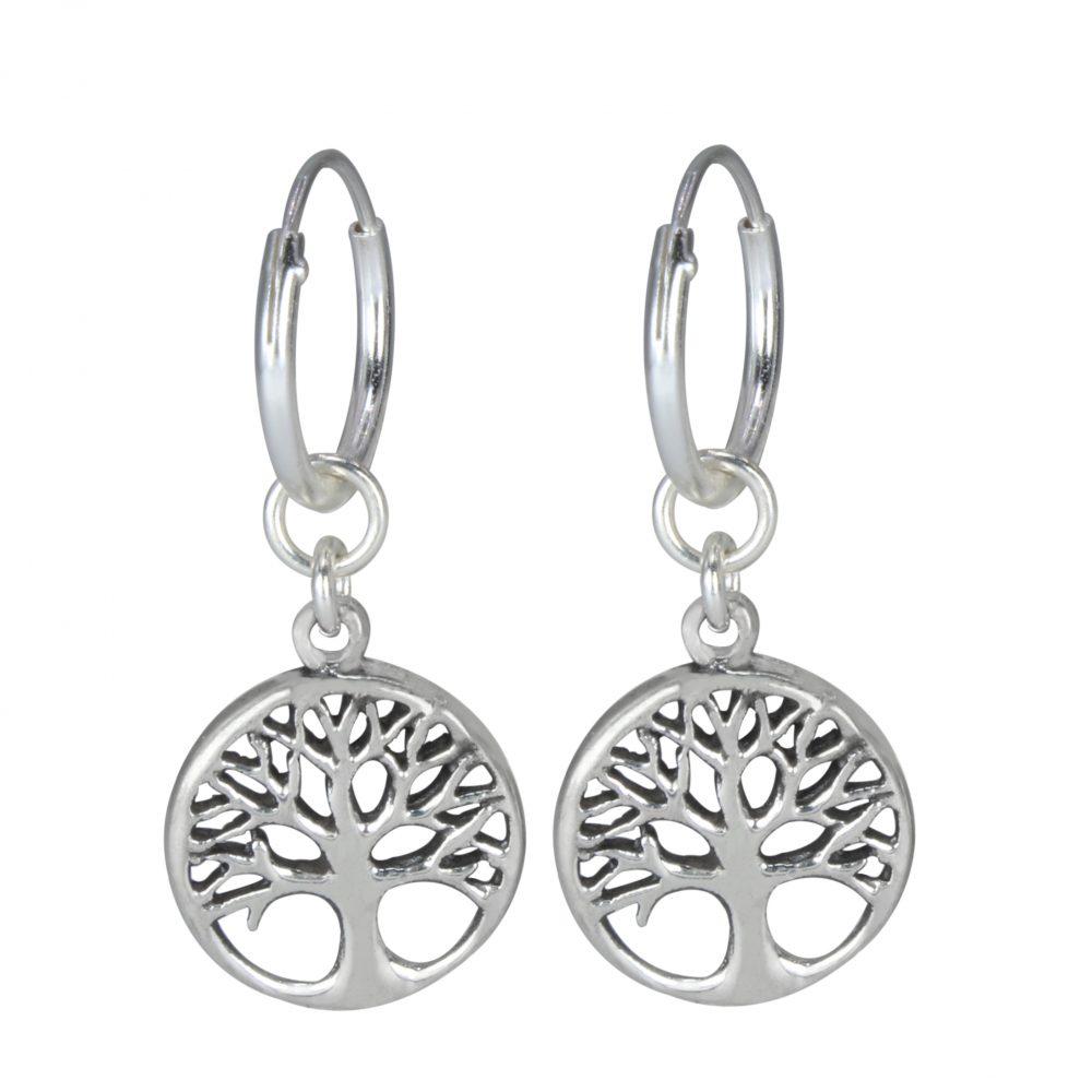 7281437fe Wholesale Silver Tree of life Charm Hoop Earrings. Wholesale Silver Tree of  life Charm Hoop Earrings