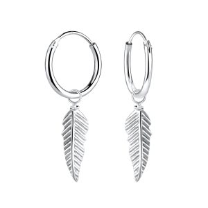 Wholesale Silver Feather Charm Hoop Earrings