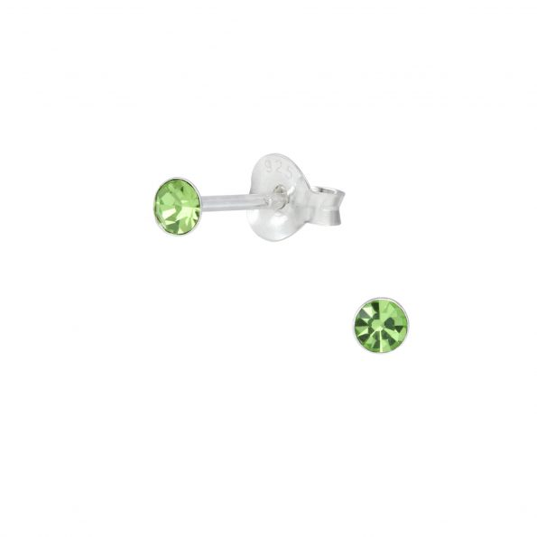 Wholesale 2.5mm Round Crystal Silver Stud Earrings