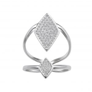 Wholesale Silver Daimond Shaped Cubic Zirconia Ring