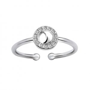 Wholesale Silver Moon Cubic Zirconia Adjustable Ring