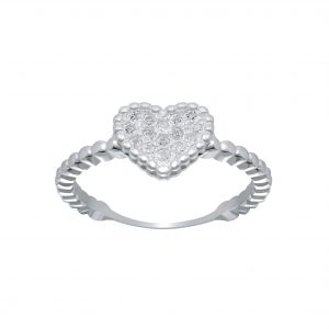 Wholesale Silver Heart Cubic Zirconia Ring