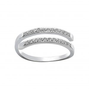 Wholesale Silver Double Line Cubic Zirconia Ring