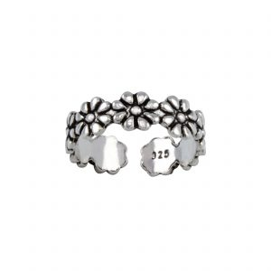 Wholesale Silver Flower Adjustable Toe Ring