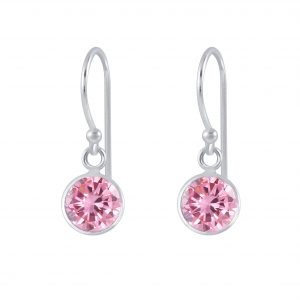 Wholesale 6mm Round Cubic Zirconia Silver Earrings