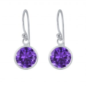 Wholesale 8mm Round Cubic Zirconia Silver Earrings