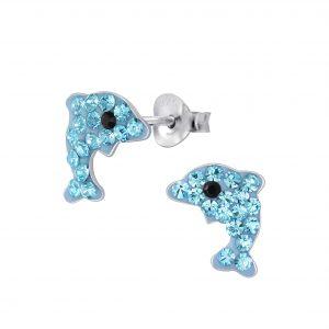 Wholesale Silver Dolphin Stud Earrings