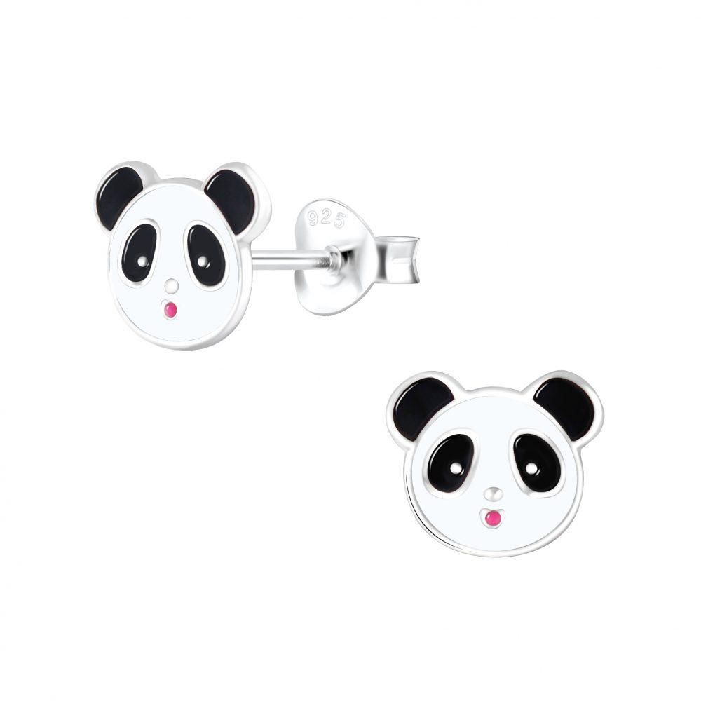 Wholesale Silver Panda Stud Earrings