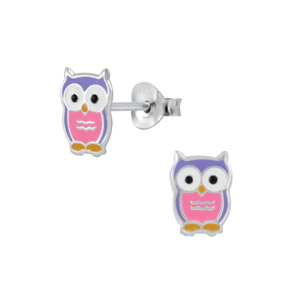 Silver Owl Stud Earrings 925 Jewelry